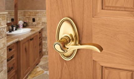 polished brass door lever